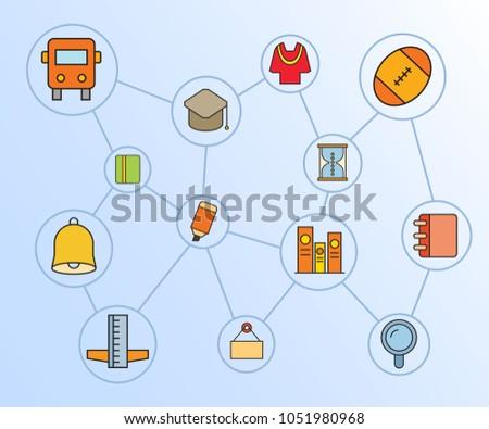 Education School Icon Network Diagram Blue Stock Vector Royalty