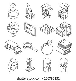 Education and school isometric 3d line icons. Student and bus, calculator and monochrome design. Vector illustration