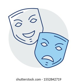 Education & School line icons for mask  & comedy