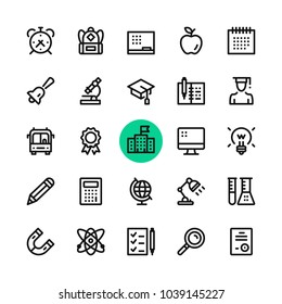 Education, school line icons set. Modern graphic design concepts, simple outline elements collection. 32x32 px. Pixel perfect. Vector line icons