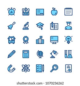Education and school line icons set. Modern graphic design concepts, simple symbols, elements, pictograms collection. Minimal thin line design. Premium quality. Pixel perfect. Vector outline icons