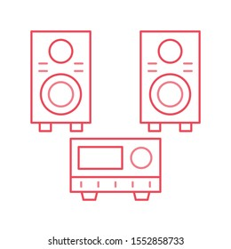Education & School line icons for woofer  & tape