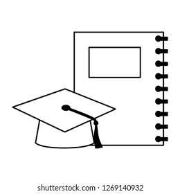 education school notebook and gradution hat