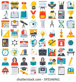 Education, school and online training icon set, vector illustration in flat style