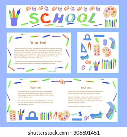 Education and school pattern, brochure, design vector template.