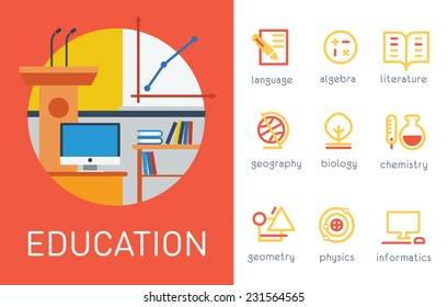 Education School Subjects Vector Flat Fill and Stroke Icon Set