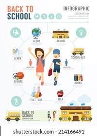 Education School Template Design Infographic . concept vector illustration