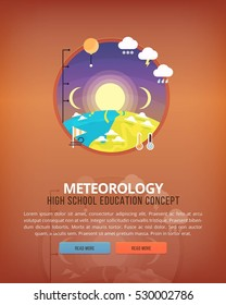 Education and science concept illustrations. Meteorology . Science of Earth and planet structure. Knowledge of athmospherical phenomena. Flat vector design banner