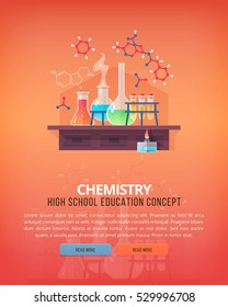 Education and science concept illustrations. Organic chemistry. Science of life and origin of species. Flat vector design banner