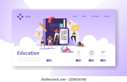 Education and Science Landing Page. Training, Courses Learning with Flat People Characters Website Template. Vector illustration
