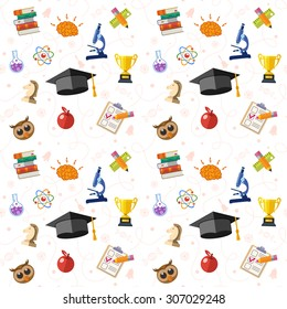 Education Seamless Pattern with Flat Icon Set for Flyer, Poster, Web Site Like mortarboard, books, brain and trophy