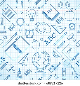 Education seamless pattern with school supplies on paper sheet in hand drawn style vector illustration