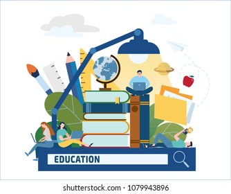 education searching vector illustration.e-book e-learning e-library bannertraining young people gain knowledge from books and Internet concept. online students flat cartoon character design