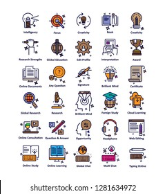 Education Self Explanatory Isolated Vector Icons Pack that can be easily edited or modify