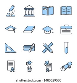 Education set icon template color editable. academic school pack symbol vector sign isolated on white background. Education Plan icons vector illustration for graphic and web design.