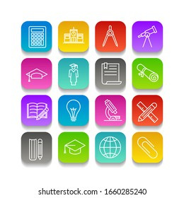 Education set icon template color editable. academic school pack symbol vector sign isolated. Education Plan icons vector illustration for graphic and web design.