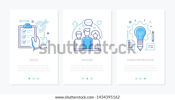 Education - set of line design style vertical web banners on white background with copy space for text. Images of a check list, target, students, lightbulb. Tests, groups, creative process concepts