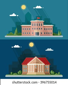 Education set. University and school, high. Construction of a public institution. Flat style vector illustration