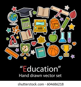 Education set.Fashion patch badges collection.Vector Graduate hand draw set on a black background.School pins,stickers, patches in doddle style.Trend.Vector illustration isolated. Vector clip art.