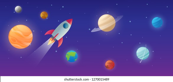 education of solar system on the space with the sun and planet mercury, venus, earth, mars, jupiter, saturn, uranus, neptune vector design illustration