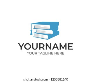 Education, stack of books and bachelor hat, logo design. Study, knowledge acquisition, university and institute, vector design and illustration