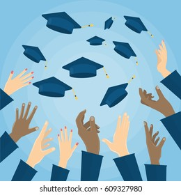 education student hats in the air. Flat design, vector illustration.