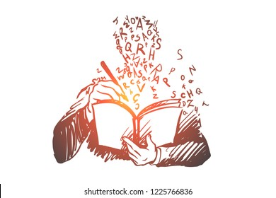 Education, study, book, student, knowledge concept. Hand drawn student learning with book concept sketch. Isolated vector illustration.