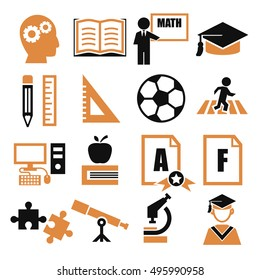 education, study icon set