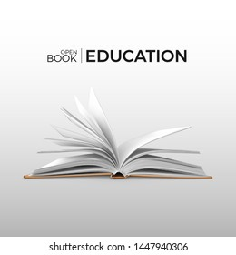 Education and study realistic open book with white pages. Textbook template. Vector illustration