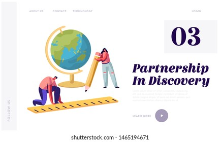 Education, Studying Concept Website Landing Page, Tiny Characters with Huge Pen, Globe and Ruler, School Stationery, College or University Students, Web Page. Cartoon Flat Vector Illustration, Banner
