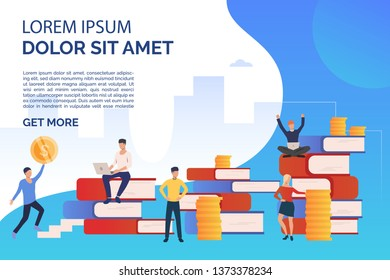 Education and studying presentation slide template. People standing among stacks of books and coins. Vector illustration can be used for topics like self education, career achievement, business
