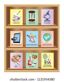 Education subjects set- Wooden bookshelf with books