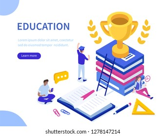 Education and success concept. Can use for web banner, infographics, hero images. Flat isometric vector illustration isolated on white background.