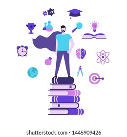 Education and success concept with education icons. Young man stands on a stack of books. Man superhero.