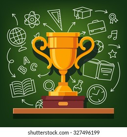 Education success golden cup in front of education icons drawn on chalkboard background. Flat style vector illustration.