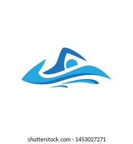 Education Swim blue Color Logo Design