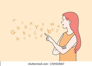 Education, teaching, speech therapy concept. Young happy woman therapist cartoon character articulating on logopedic treatment session. Learning alphabet letters at school or kindergarten illustration