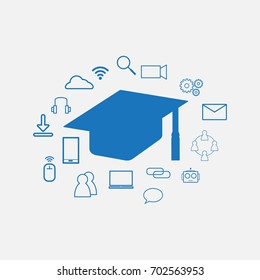 Education Technology - EdTech Background including Graduation hat and technology Sign Symbol around it