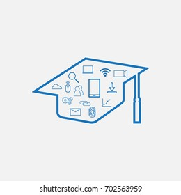 Education Technology - EdTech Background including Graduation hat and technology Sign Symbol inside it