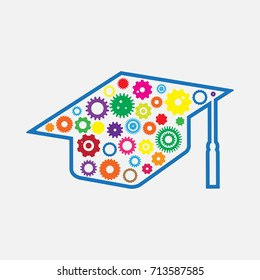 Education Technology ( EdTech) - Graduation Hat with Mechanic gear