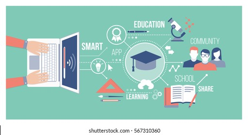 Education, technology and online training concept: student connecting with a laptop, attending online courses and sharing with a community