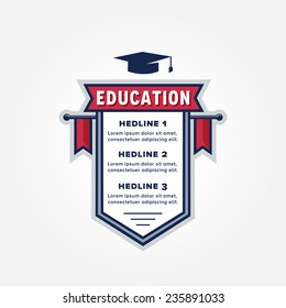 Education Themed Infographic Badge Design for creating Study Plan, Schedule, Table, List, Timetable, Agenda, Chart or whatever data representation | Vector Illustration Isolated on White Background
