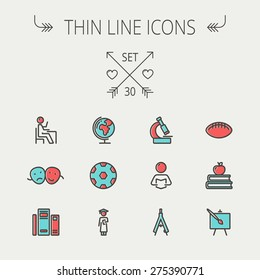 Education thin line icon icon set for web and mobile. Set includes-apple, books, binders, football ball, mask, global icons. Modern minimalistic flat design. Vector icon with dark grey outline and