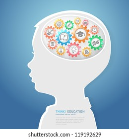 Education Thinking Concept. Children Think with Education icons in Gears. Vector Illustration
