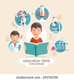 Education thinking conceptual. Children holding books. Vector illustrations.