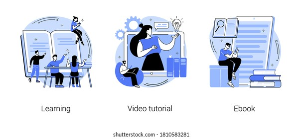 Education and training abstract concept vector illustration set. Learning, video tutorial, ebook reading, school library, online courses, student homework, memory and knowledge abstract metaphor.
