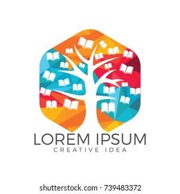 Education tree and books logo design. Institutional and educational vector logo design.