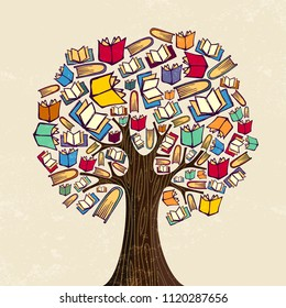 Education tree concept. Book icons for back to school design or class learning illustration. EPS10 vector.