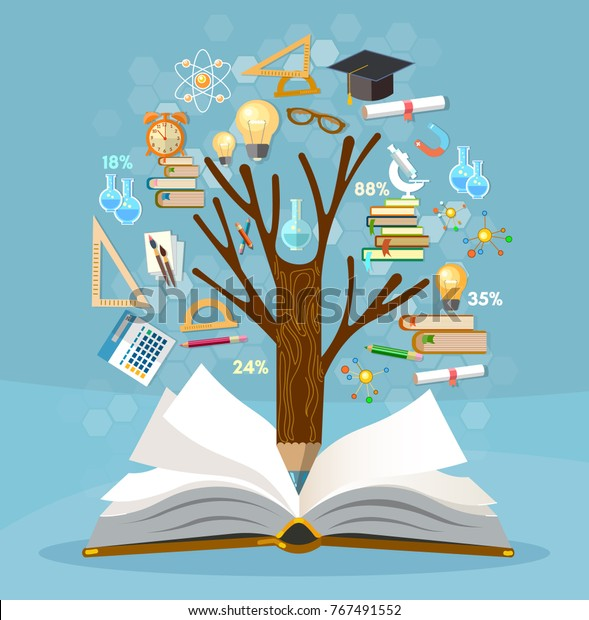 Education, tree of knowledge and open book, effective modern education template design. Back to school concept
