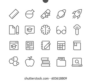 Education UI Pixel Perfect Well-crafted Vector Thin Line Icons 48x48 Ready for 24x24 Grid for Web Graphics and Apps with Editable Stroke. Simple Minimal Pictogram Part 2-2